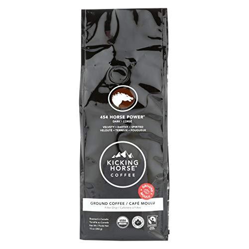 Kicking Horse Coffee - Organic - Ground - 454 Horse Power - Dark Roast - 10 oz - case of 6 - 95%+ Organic -