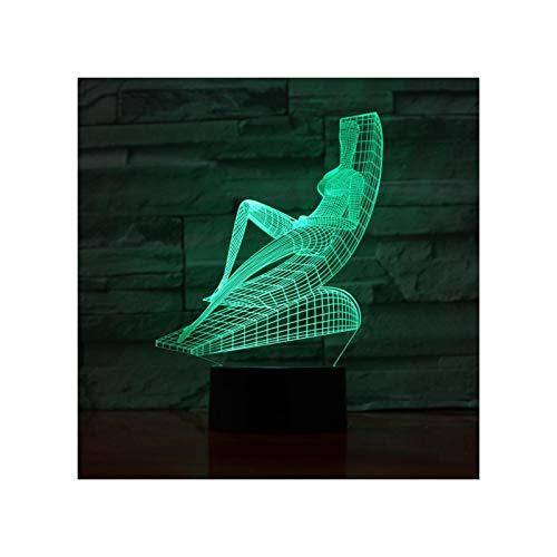 3D Reclinable Diseño para Tomar El Sol Lámpara De Mesa USB Táctil 7/16 Cambio De Color Luz De Noche Led Iluminación Creativa Niña Dormitorio Niño Fiesta Regalo De Cumpleaños