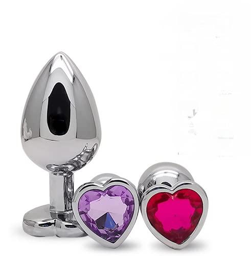 3PCS Stimûlatōr Toy Set Acier Inoxydable Ànâl Bûtt Pl'uģ avec Forme de Coeur Cristal Métal Ƀúťt Pl'ugs pour Femmes