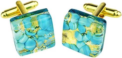 Gemelos de cristal de Murano OMG, color azul claro