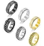 MOZAKA 6PCS Stainless Steel Cool Fidget Band Chain Matte Stylish Spinner Rings for Men Women Jewelry Set Size 9