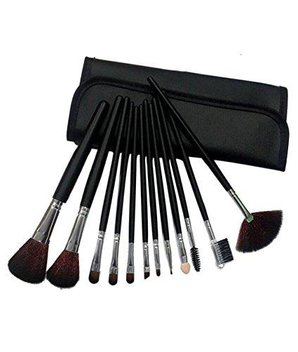 Cexin noire professionel 12 pinceaux de maquillage équis avec trousse