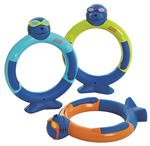 Zoggs Children's Zoggy Dive Rings Pool Toy and Game (Pack of 3), Blue/Lime/Orange, One Size