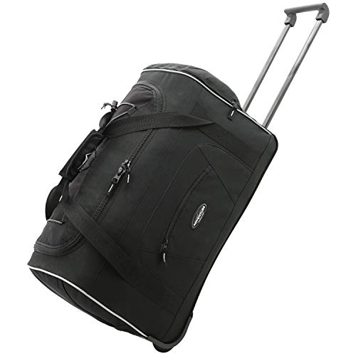 Travelers Club Adventure Rolling Duffel Carry-On Luggage, Black, Black