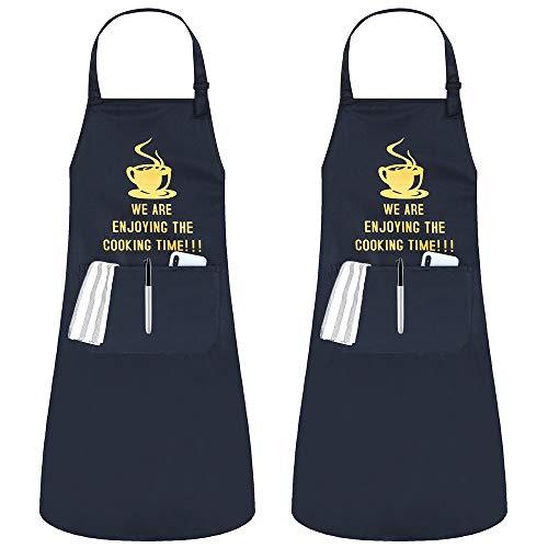 JSDing 2 Pack Tabliers de Cuisine Etanche Personnalisé Tablier Réglable avec Poch pour Cuisine Familial,Restaurant,Jardin,Barbecue,école,Café,Tablier pour Chef,Boulanger,Serveurs,Serveuse