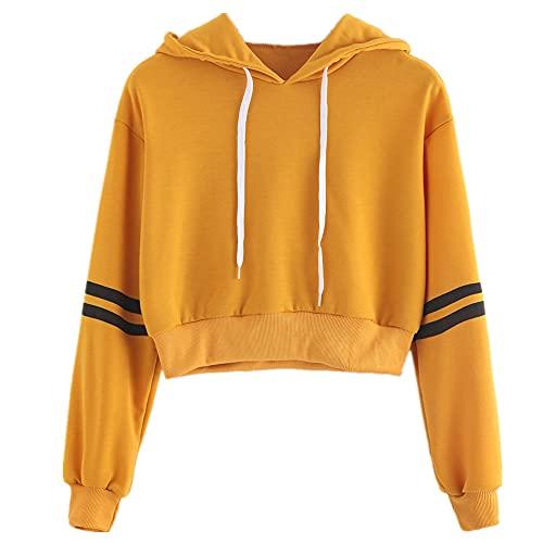 N\P Primavera suéter raya manga larga con capucha color sólido camiseta corta