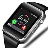 Smart Watch - Sazooy Bluetooth Smart Watch Support Make/Answer Phones/Get Messages Compatible Android iOS Phones with Camera Pedometer SIM SD Card Slot for Men Women (Silver)