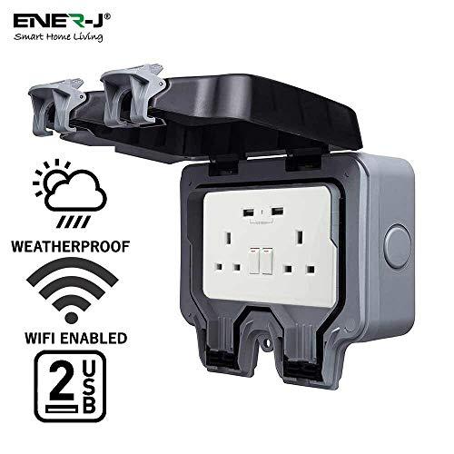 ENERJ Cambie Inteligente a Prueba de Agua 13A WiFi Doble zócalo de Pared con 2 Puertos USB, IP66 2 Alturas de 13 amperios Doble Polo eléctrico sockets Caja de Ga