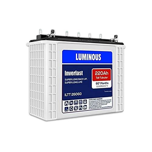 Luminous Inverlast ILTT 26060 220Ah Tall Tubular Plate Inverter Battery for Home, Office &...