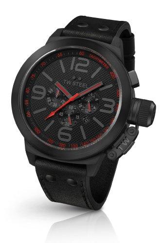 TW Steel Canteen Style TW-903 - Reloj cronógrafo de Cuarzo para Hombre, Correa de Cuero Color Negro (cronómetro)