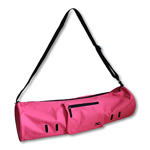 """YogaAddict Yoga Mat Bag 'Compact' with Pocket, 28"""" Long, Fit Most Mat Size, Extra Wide, Easy Access - Pink"""
