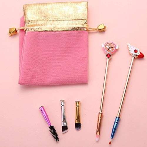 HZD Sailor Moon Anime DIY Makeup Brushes Set Rotatable Replacement Brush Head Design Highlight Eye Shadow Eyebrow Eyelash Brush,Rose Gold 1