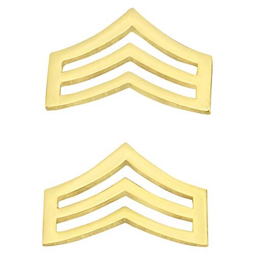 Smith & Warren 3/4'H x 1' W Sergeant Chevron Collar Brass Rank Insignia Gold Finish Police Uniform Pin