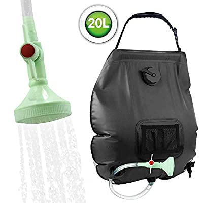 KIPIDA Solar Shower Bag,5 gallons/20L Solar Heating Camping Shower Bag with Removable Hose and On-Off Switchable Shower Head for Camping Beach Swimming Outdoor Traveling Hiking (Black)