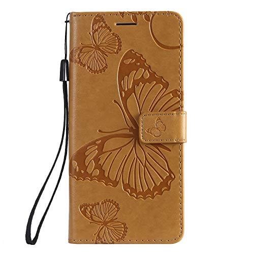 Handyhülle für Moto G7 Power Hülle Leder Schutzhülle Brieftasche mit Kartenfach Magnetisch Stoßfest Handyhülle Case für Motorola Moto G7Power - XIKAT041834 Gelb