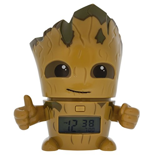 BulbBotz Marvel 2021340 Guardians of The Galaxy Vol.2 Groot Kids Night Light Alarm Clock with Characterised Sound, Brown/Green, Plastic, 5.5 inches Tall, LCD Display, Boy Girl, Official