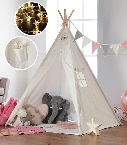Haus Projekt Tipi Zelt Set Kinder mit Zubehör, Lichterkette, Wimpelkette, Aufbewahrungstasche & Bodenmatte – Kinderzimmer Spielzelt 100% Baumwoll, Teepee für drinnen / draußen (160cm hoch)...