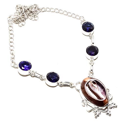 jewels paradise Collar de Plata de Ley 925 Chapado en Plata de Ley 925 con Piedras de Zafiro Azul y Kodi (SF-1319)