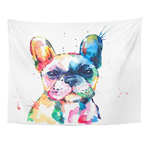 Weweek Tapestry Frenchie French Bulldog Original Watercolor of Dog Funny Happy Home Decor Wall Hanging for Living Room Bedroom Dorm