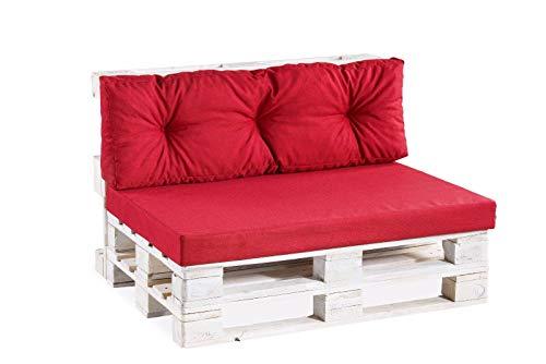 Palettenkissen Palettenauflagen Sitzkissen Rückenlehne glatt gesteppt PPF (Sitzkissen 120x60 glatt, Rot)