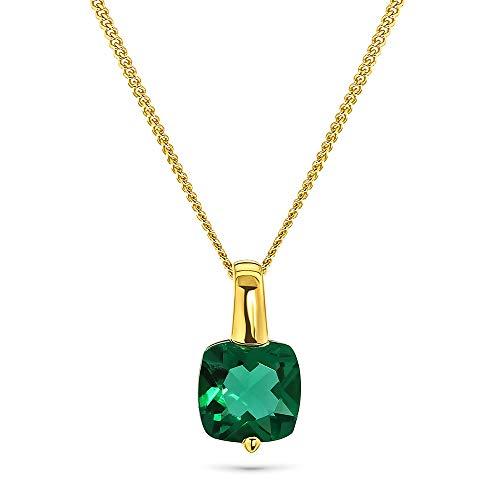 Miore Kette Damen Halskette mit Anhänger Edelstein/Geburtsstein Smaragd in grün aus Gelbgold 9 Karat / 375 Gold, Halsschmuck 45 cm lang