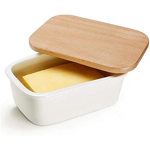 Plato de mantequilla de porcelana con tapa, tapa de madera con labio de sellado de silicona, esmalte o mantequilla de cerámica,Blanco