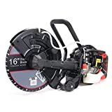 XtremepowerUS 16' Gas-Power Cutter Circular Saw Wet/Dry Concrete Saw Cutter 52CC 2-Stroke Engine with Water Line Guide Roller (w/Blade)