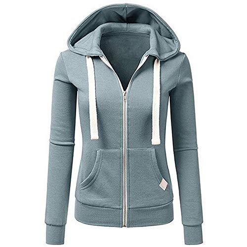TOPKEAL Frauen Hoodie Pullover Damen Kapuzenpullover Streifen Sweatshirt Winterpullover Langarm Jacke mit Kapuze Tasche Mantel Tops Blouse Pulli (Blau 2, S)