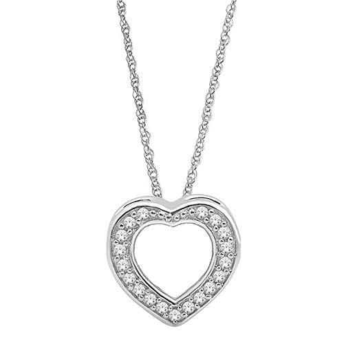 Ani's Colgante de oro blanco de 1/4 quilates con diamante VVS1 de 14 quilates sobre 925 con colgante de corazón de 45,7 cm