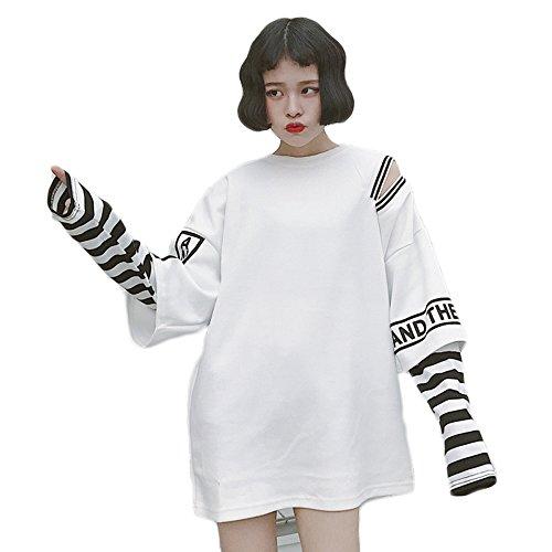 Harajuku - T-shirt à manches longues à rayures pour femme - t-shirt kawaii à deux fausses pièces - Blanc - Taille Unique