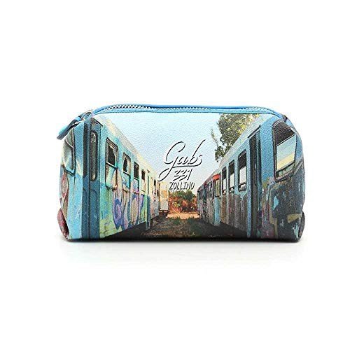 "Beauty case in tessuto cerato e riporti in pelle multicolor fantasia""Treni"""