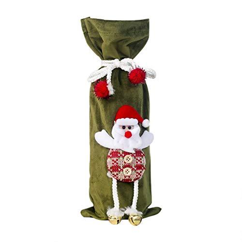 FEE-ZC Bolsas Reutilizables para Botella de Vino navideña para Papá Noel/muñeco de Nieve/Alce Decoraciones de Tela para Vino navideño, Fiestas navideñas, Decoraciones de Mesa, Regalos, marrón