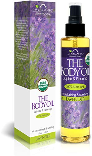 US Organic Body Oil - Elegant Lavender - Jojoba and Rosehip Oil with Vitamin E, Certified Organic, No Alcohol, Paraben, Artificial Detergents, Color or Synthetic perfumes, 5 Fl.oz. (Lavender)