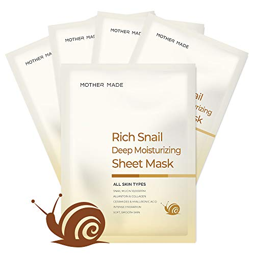 MOTHER MADE Rich Snail Deep Moisturizing Korean Face Sheet Mask Pack of 5, with Cruelty-free Snail Mucin, Collagen, Vitamin C, Hyaluronic Acid - Hydrating, Anti-aging, Unscented, for Women & Sensitive