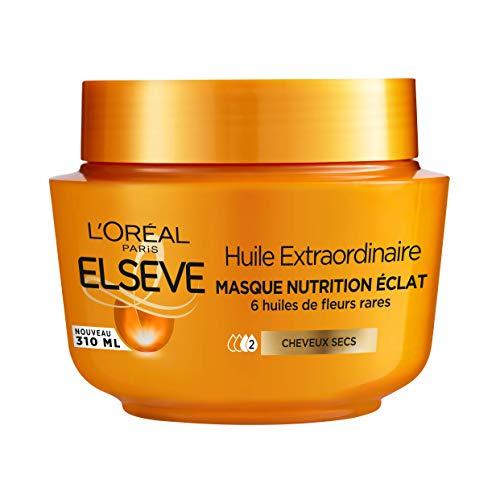 L'Oréal Paris Elseve Huile Extraordinaire Masque Nutrition Éclat Enrichi en 6 Huiles de Fleurs Rares pour Cheveux Secs 1 Unité
