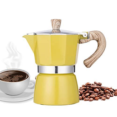 NARCE Stovetop Espresso Maker Moka Pot 3 Cup - 5oz  Yellow - Cuban Coffee Maker  Stove top coffee maker  Moka Italian espresso  greca coffee maker  Aluminum