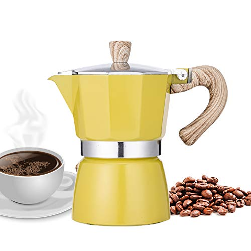 Check Out This NARCE Stovetop Espresso Maker Moka Pot 3 Cup - 5oz| Yellow - Cuban Coffee Maker| Stov...