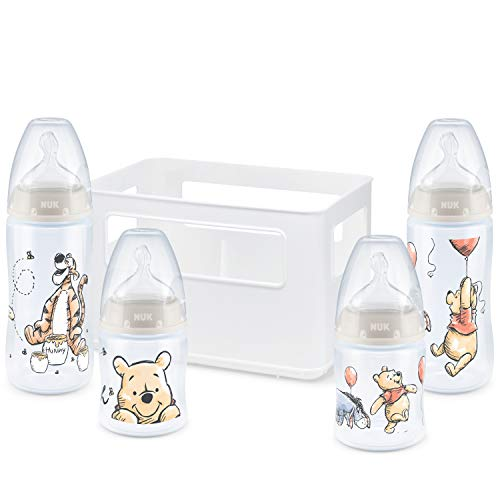 NUK First Choice+ Starter set biberon e scatola porta-biberon | 0-6 mesi | Tettarella in silicone | Anti-coliche | Privo di BPA | Disney Winnie the Pooh | 5 pezzi