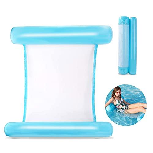 HongJing Colchoneta hinchable para piscina, reutilizable, 4 en 1, cama de agua flotante, colchón de aire para piscina, tumbona portátil