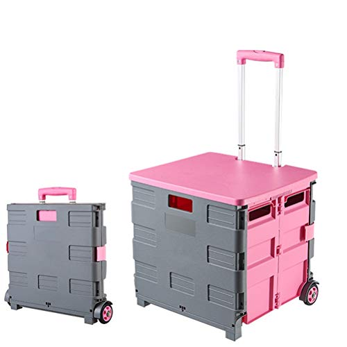 Foldable Cart Four Wheeled Portable Tools Carrier, Mobile Folding Cart with Lid, for Elderly, Picnic Tools Seat, Supermarket Grocery Shopping Boot Cart Box 16.5X15' (Color : Pink)