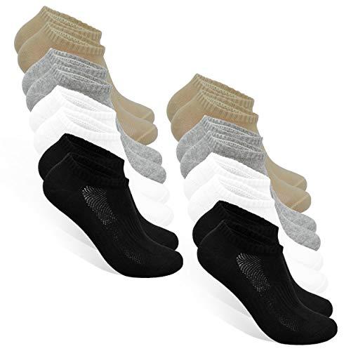 STYLE FOREVER Premium Sneaker Socken für Damen und Herren 8er-Pack (2x Schwarz + 2x Weiß + 2x Grau + 2x Beige, 35-38)