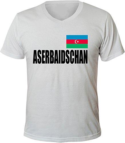 Mister Merchandise Herren V-Ausschnitt T-Shirt Aserbaidschan Fahne Flag, V-Neck, Größe: M, Farbe: Weiß