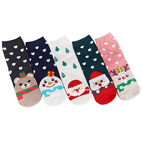 Petalum Lot de 5 Chaussettes Noël Adultes en Coton à...