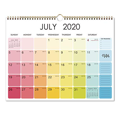 2020-2021 Calendar - 18 Monthly Wall Calendar 2020-2021 with Thick Paper, 15 x 11.5, Jul 2020 - Dec 2021, Twin-Wire Binding, Blank Blocks with Julian Dates, Hanging Loop, Perfect for Organizing