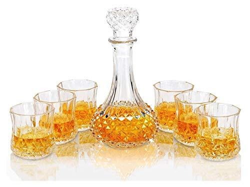 HAOKTSB Decantador de Whisky y Gafas, Marcador de Whisky de Cristal de 600 ml con 6 Gafas de Whisky 300 ml, para Whisky Whisky Vodka, 7 Piezas Decantador de Whisky