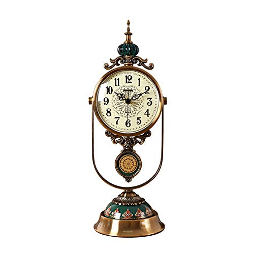 zlw-shop Decorativo Reloj Reloj de Mesa de péndulo Reloj de Manto, Reloj de Escritorio de Metal de Escritorio para el hogar Retro, Ligero y Lujoso, 18.3 Pulgadas, para Regalos Reloj de Mesa
