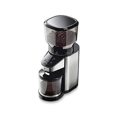 Tchibo Barista Elektrische Kaffeemühle mit eingebauter Waage (Edelstahlgehäuse, Edelstahl-Kegelmahlwerk, 26 Mahlgradeinstellungen, 160 Watt, schwarz/silber)