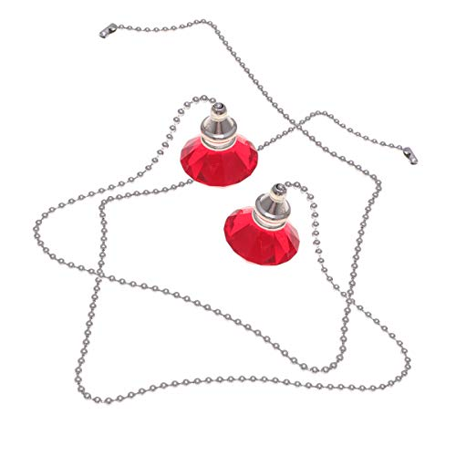 2pcs ventilador de techo de cristal cadena de extracción árbol de navidad colgante de diamante adorno para el hogar decoración de la boda (rojo) Luz solarLuces de fiesta