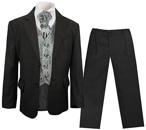 Paul Malone festlicher Jungen Anzug (tailliert) schwarz mit festlichem Westenset Silber grau Paisley