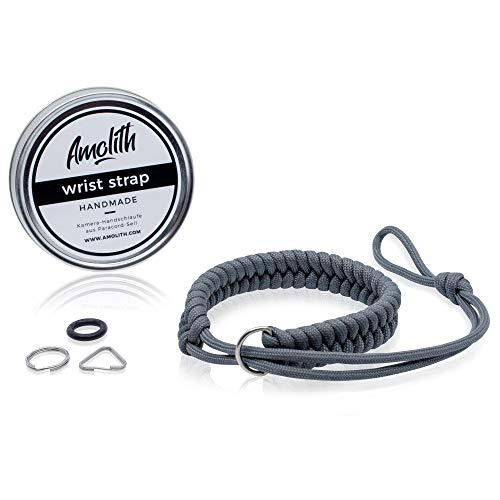 Amolith® Kamera-Handschlaufe aus Paracord   Farbe: Gunmetal   Flechtmuster: Fishtail   Handgelenkschlaufe Kameraschlaufe Kameraband Trageschlaufe   AML-8391